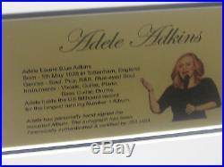 Adele Adkins Signed & Framed Vinyl 25 Album James Spence Jsa Letter # Z05924