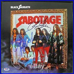 Black Sabbath (4) Ozzy Osbourne Signed Sabotage Album Cover With Vinyl PSA AB03432
