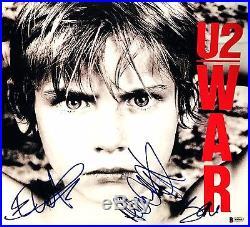 Bono Edge Adam Clayton U2 War Autographed Signed Album Vinyl BAS A80643