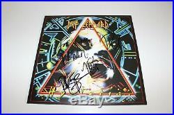 DEF LEPPARD BAND SIGNED'HYSTERIA' ALBUM VINYL RECORD LP withCOA x4 JOE ELLIOTT