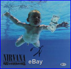 Dave Grohl Nirvana Signed Nevermind Album Cover With Vinyl Autographed BAS #C15383