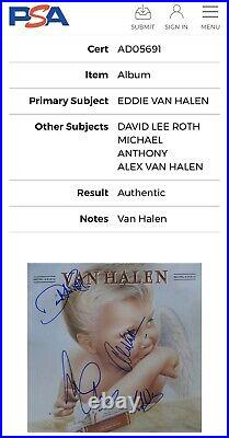 Eddie Van Halen Signed By Full Band Auto 1984 Vinyl Record Album COA (PSA)