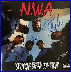 ICE CUBE DR DRE signed (NWA) Straight Outta Compton Record album LP VINYL COA