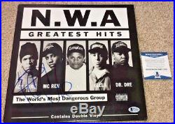 Ice Cube Signed Nwa Greatest Hits Vinyl Album Straight Outta Compton Dr Dre Bas