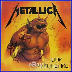 METALLICA BAND SIGNED JUMP IN THE FIRE VINYL ALBUM With 4 SIGS PSA/DNA W03773