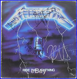 METALLICA BAND SIGNED RIDE THE LIGHTNING VINYL ALBUM With 4 SIGS PSA/DNA W03776