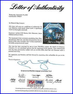 METALLICA BAND SIGNED RIDE THE LIGHTNING VINYL ALBUM With 4 SIGS PSA/DNA Y06829