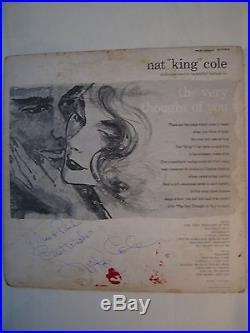 NAT KING COLE signed LP record Album Vinyl Autographed