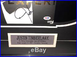 PSA/DNA 20/20 Experience JUSTIN TIMBERLAKE Signed Autographed Framed Vinyl Album