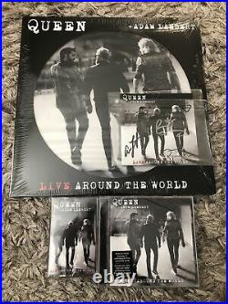 Queen Adam Lambert Live Around The World Latw Signed CD Cassette Vinyl Pic Disc