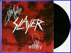 SLAYER BAND SIGNED WORLD PAINTED BLOOD LP VINYL RECORD ALBUM WithJSA CERT