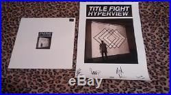 TITLE FIGHT SIGNED HYPERVIEW POSTER VINYL LP ALBUM COA Jamie Rhoden FLORAL GREEN