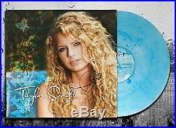 Taylor Swift Signed TAYLOR SWIFT Autographed Turquoise Vinyl Album LP LE
