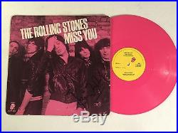 The Rolling Stones Miss You Signed Autograph EP Pink Vinyl Album Ronnie Wood