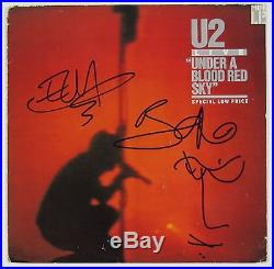 U2 Bono Edge Under Blood Red Sky Sketch Signed Autograph Record Album JSA Vinyl